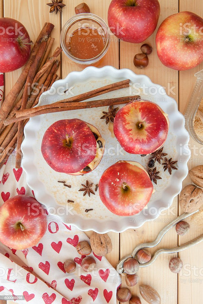 Preparing backed apples stock photo