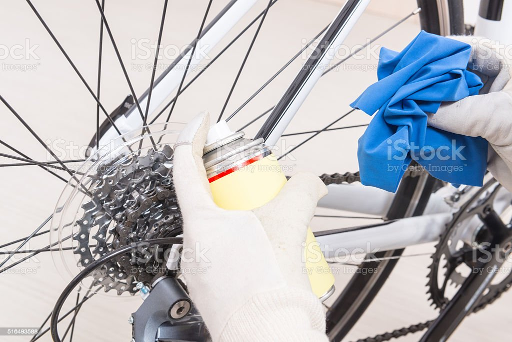 Preparing bicycle for a new season stock photo