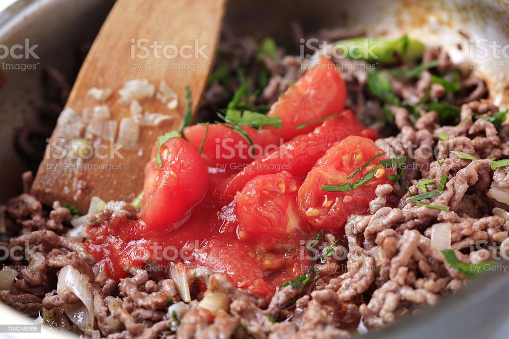 Preparing Bolognese sauce royalty-free stock photo