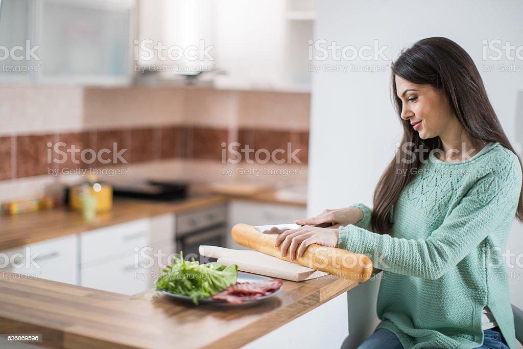 Preparing breakfast stock photo