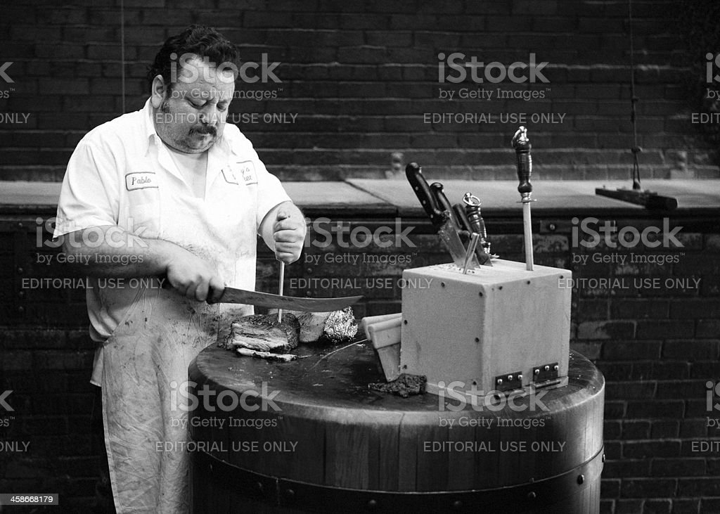 Preparing brisket at Lockhart, Texas royalty-free stock photo