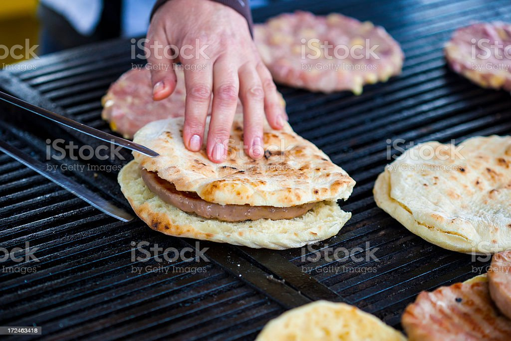 Preparing burgers royalty-free stock photo