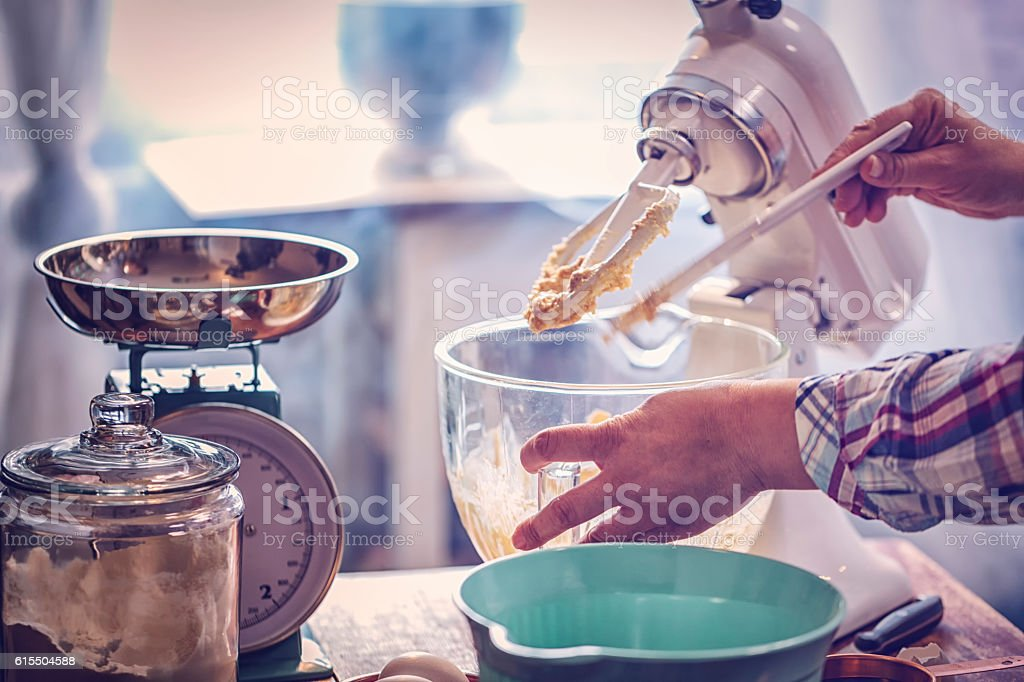 Preparing Cake Batter stock photo