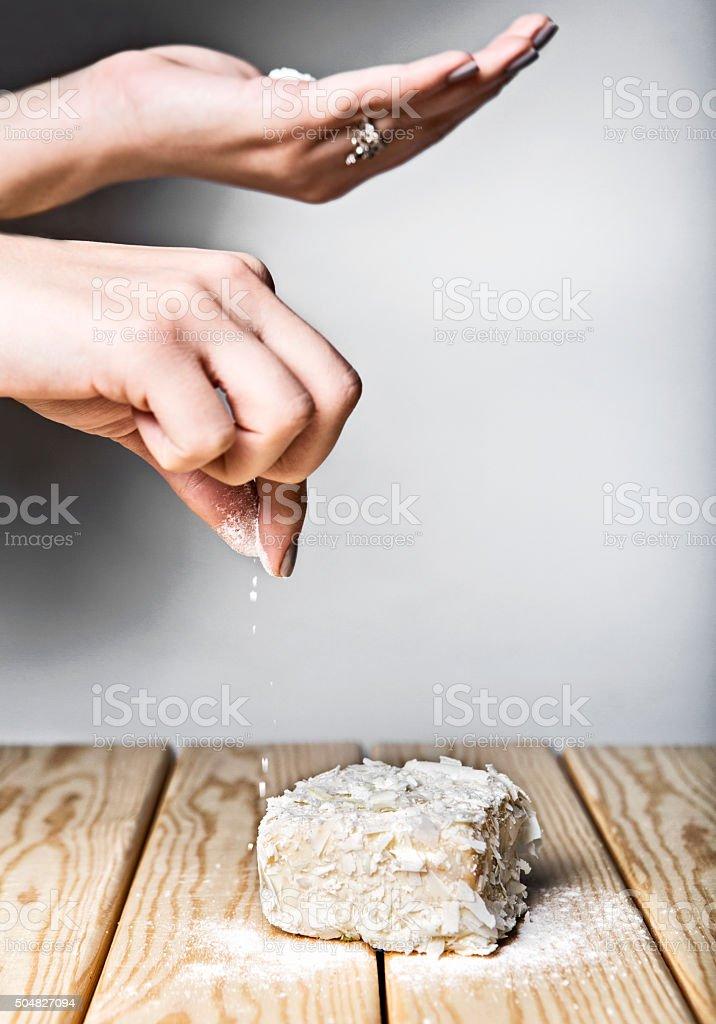 Preparing Cake stock photo