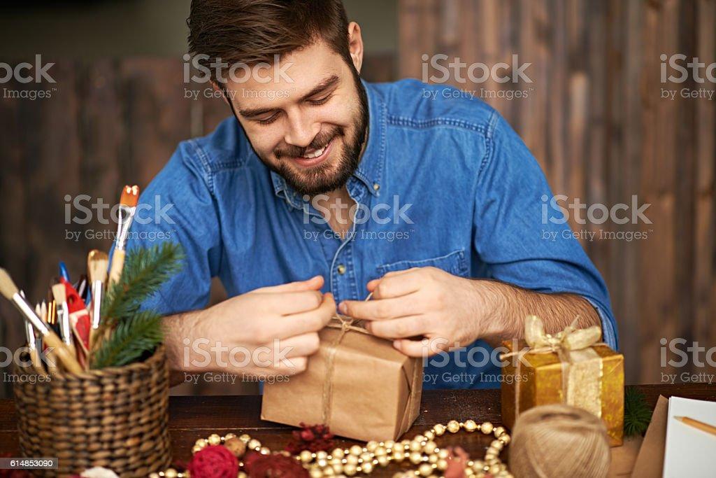 Preparing Christmas gifts stock photo