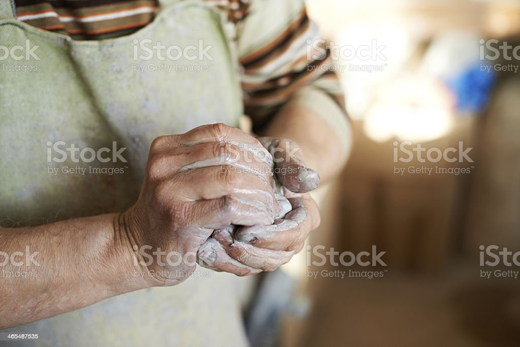 Preparing clay royalty-free stock photo