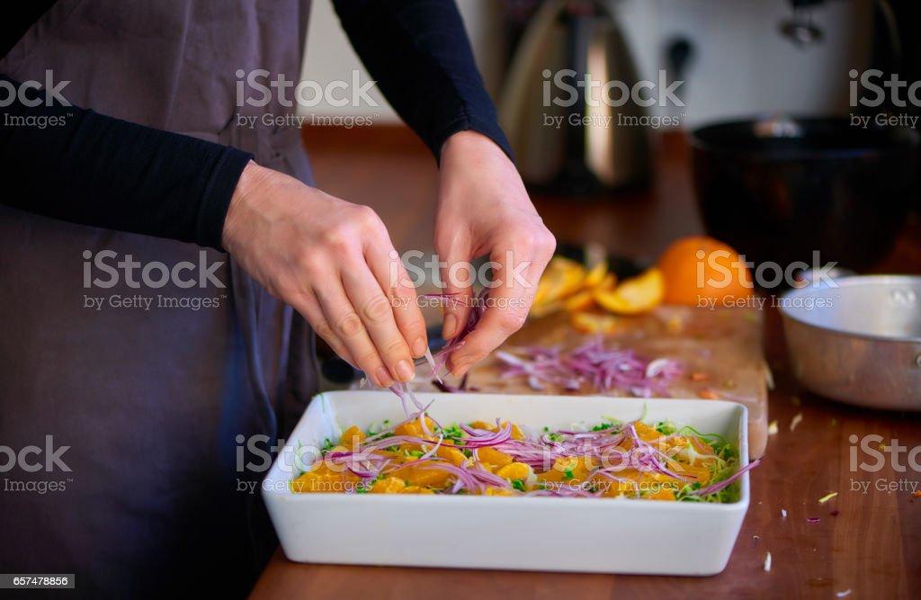 Preparing dinner in private kitchen stock photo