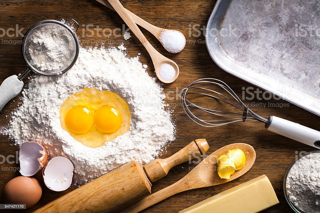 Preparing dough for baking stock photo
