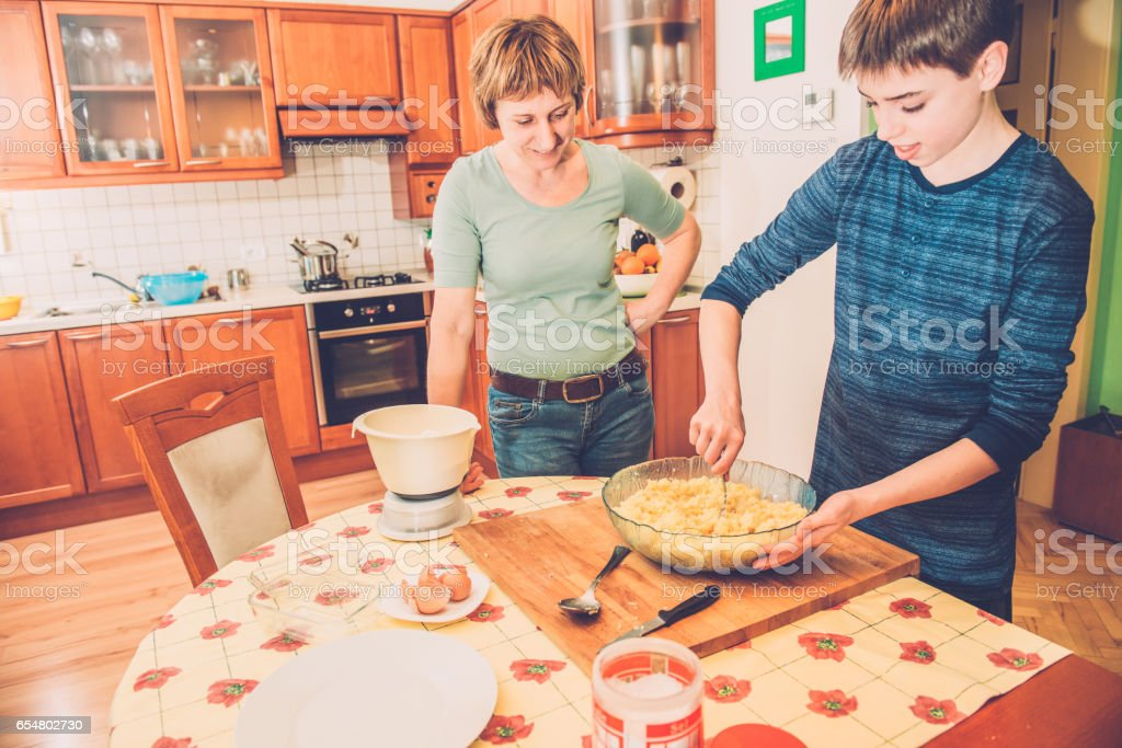 Preparing Dough for Home Made Gnocchi, Southern Europe stock photo
