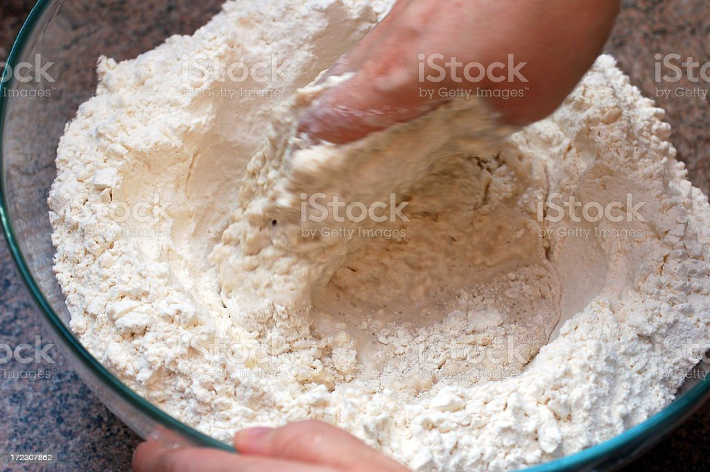 Preparing dough stock photo