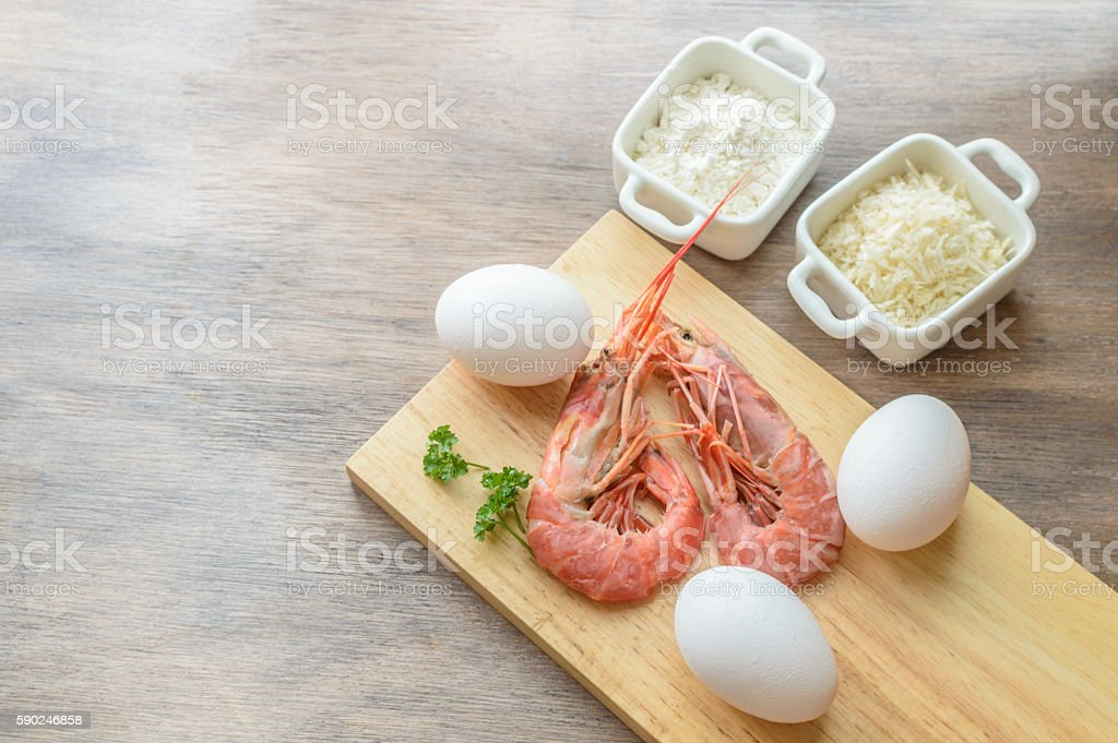 preparing ebi furai stock photo