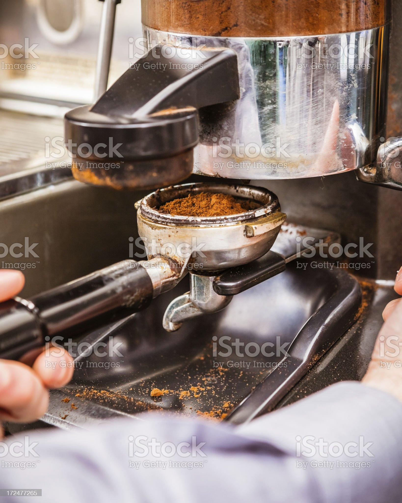 Preparing Espresso Coffee, Professional Machine royalty-free stock photo
