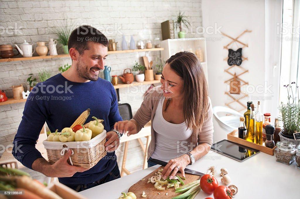 Preparing Family Breakfast In Kitchen stock photo