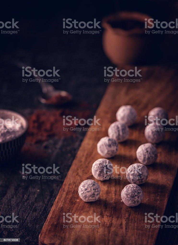 Preparing Finest Homemade Chocolate Pralines stock photo