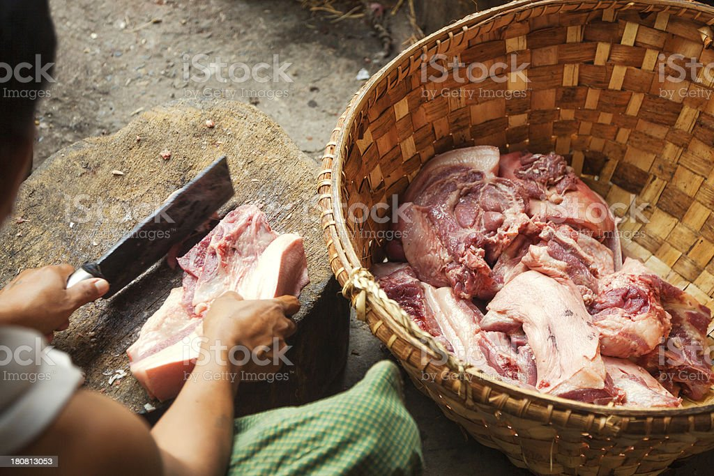Preparing food in Asia royalty-free stock photo