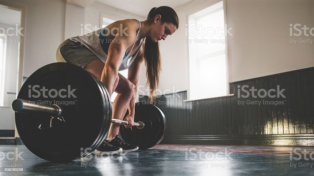 Preparing for a Deadlift stock photo