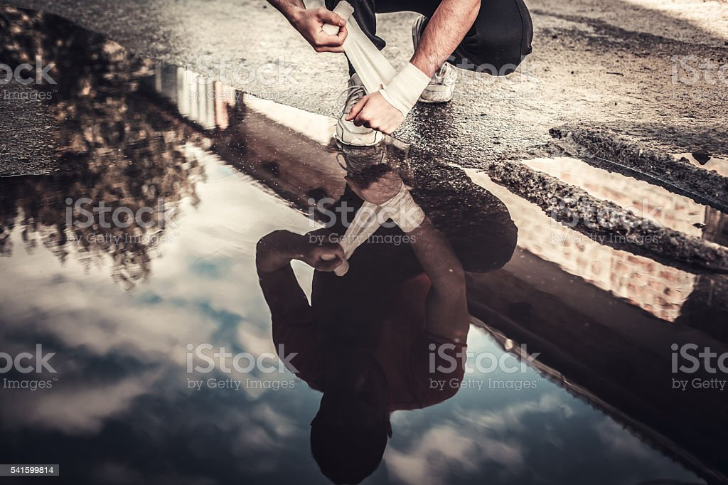 Preparing for a training stock photo