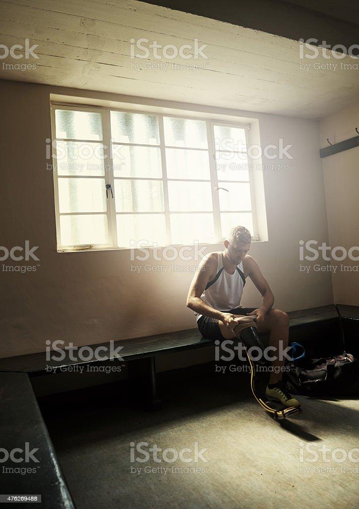 Preparing for his race stock photo