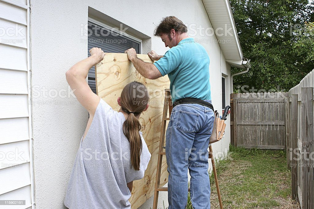 Preparing For Hurricane Together royalty-free stock photo