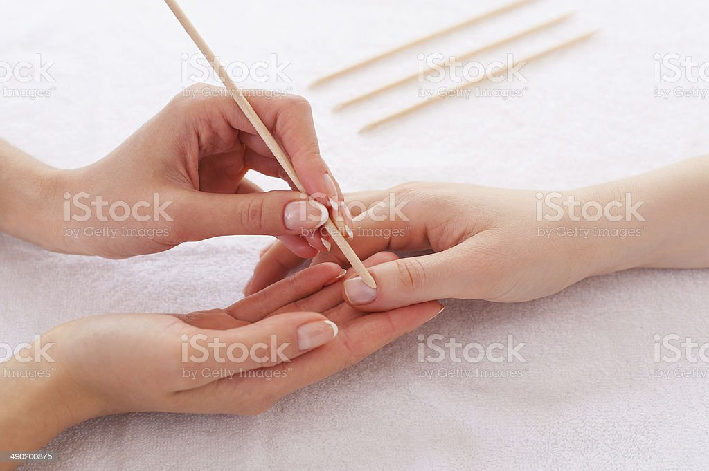 Preparing for manicure. stock photo