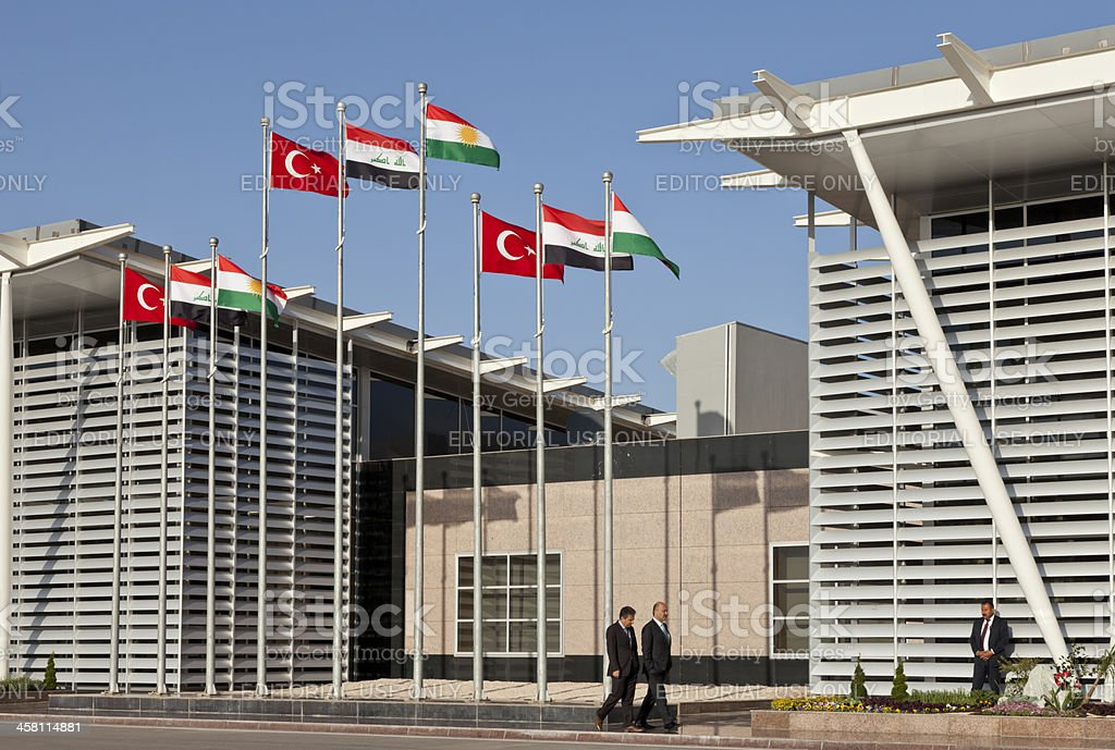 Preparing for opening ceremony of Erbil International Airport. stock photo