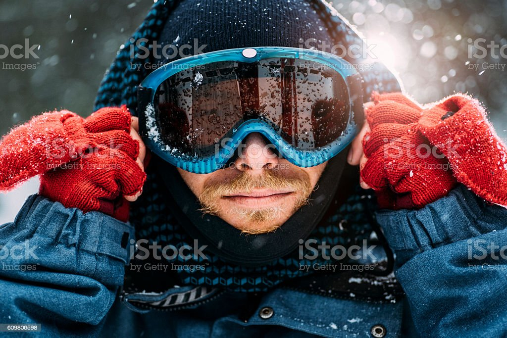Preparing for snow ride stock photo