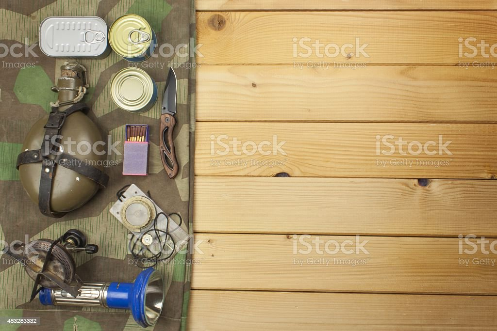 Preparing for summer camping. stock photo