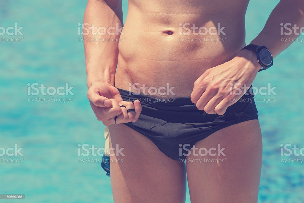 Preparing for Swimming stock photo