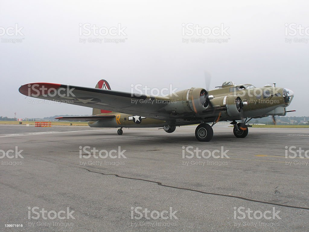 B-17 Preparing For Take-off royalty-free stock photo