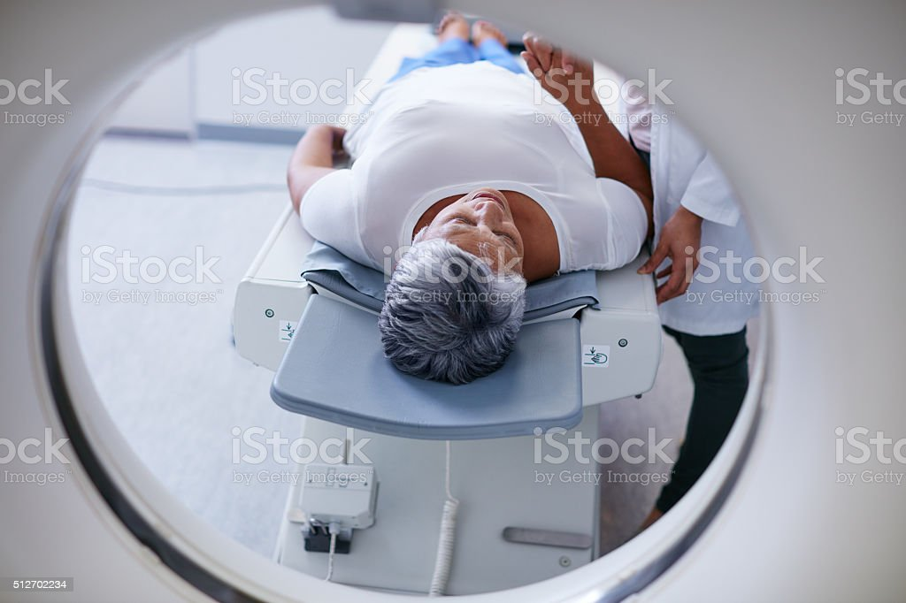 Preparing for the scan stock photo