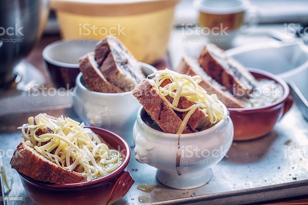 Preparing French Onion Soup stock photo