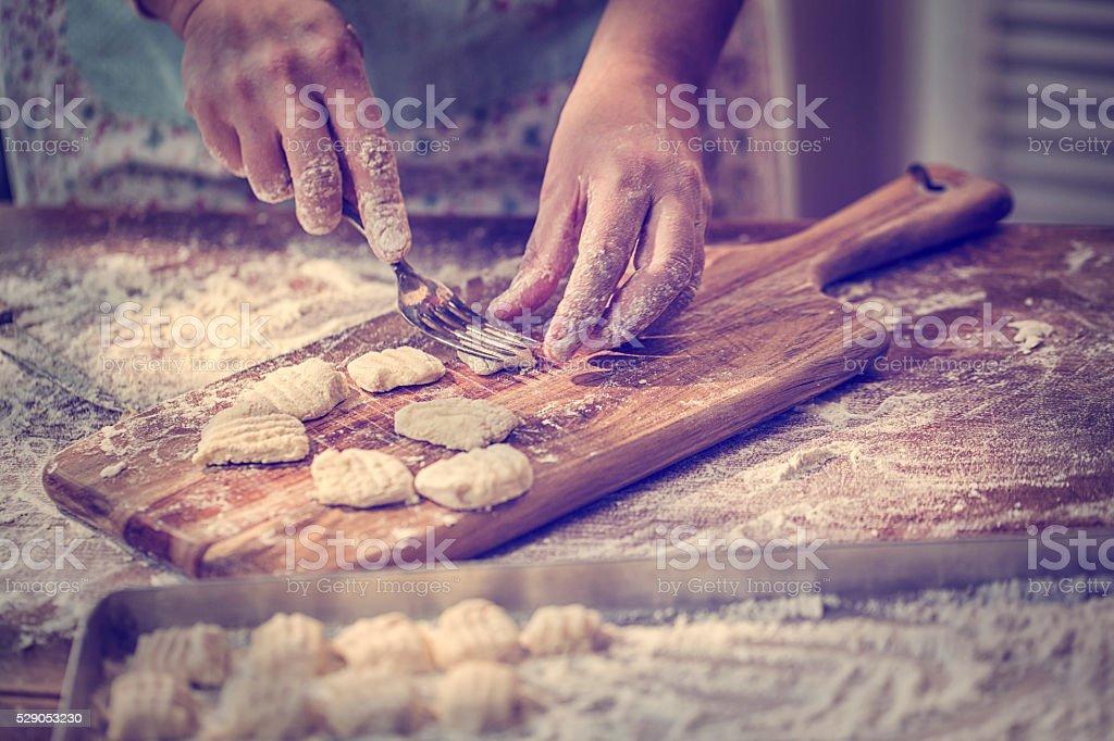 Preparing Fresh Homemade Gnocchi stock photo