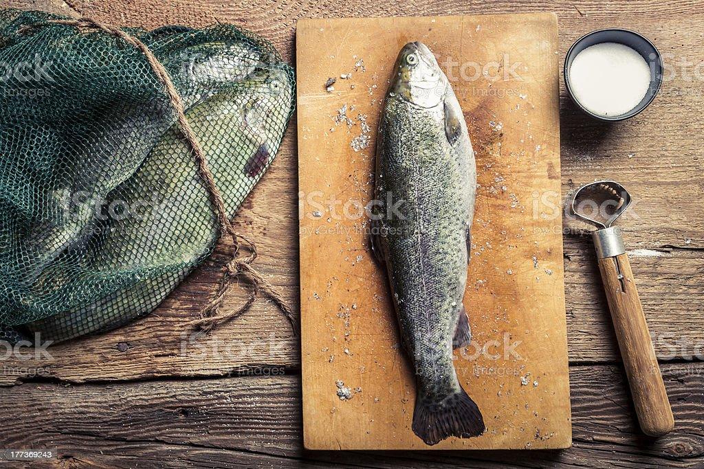 Preparing freshly caught dinner royalty-free stock photo