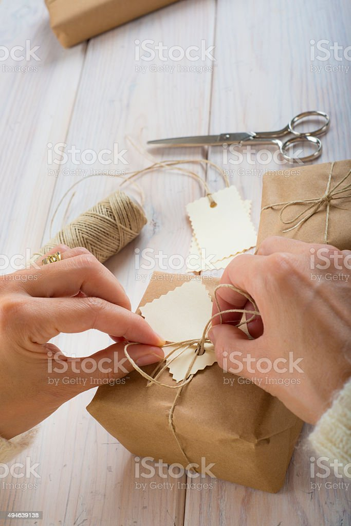 Preparing gifts for Christmas stock photo