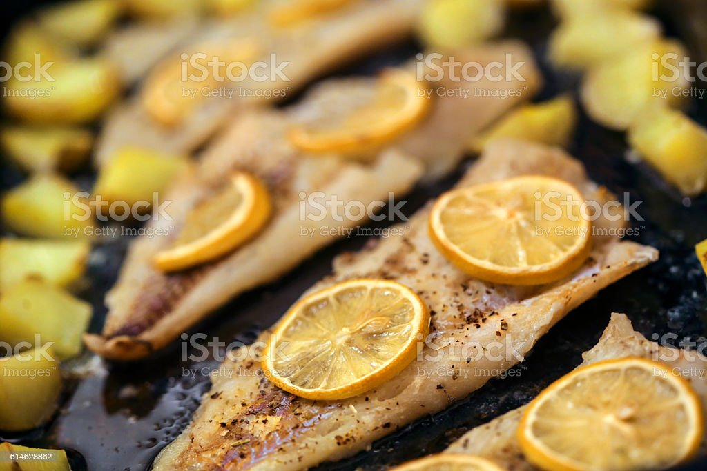 Preparing hake fillet stock photo