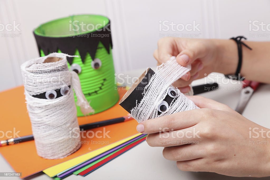 Preparing Halloween Decorations stock photo