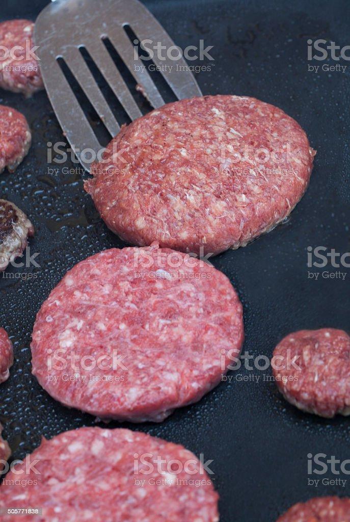 Preparing hamburgers stock photo