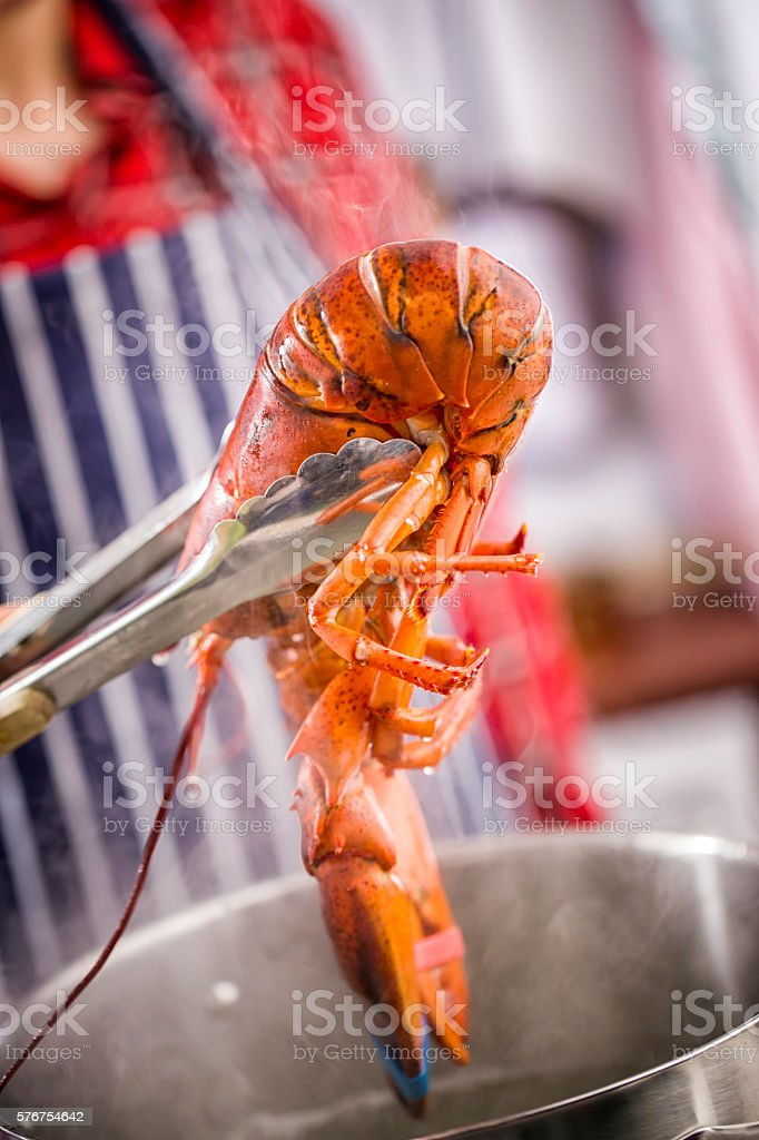 Preparing Healthy Cooked Lobster stock photo