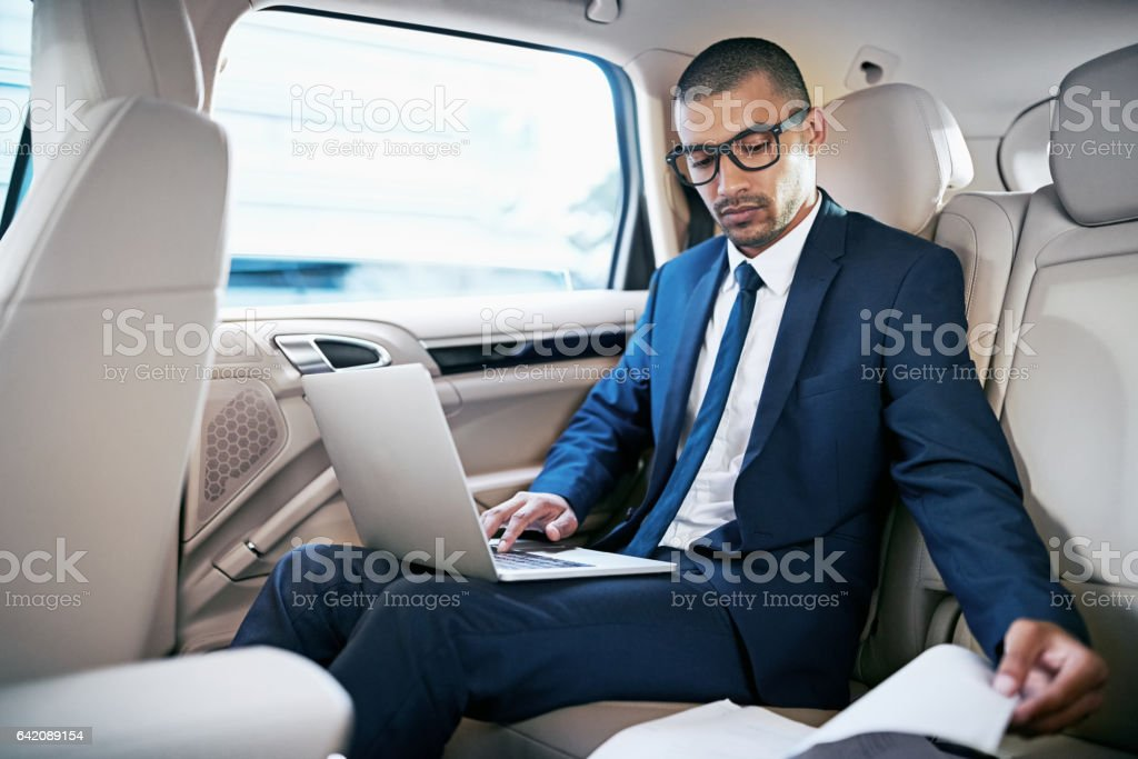 Preparing himself for a interview stock photo