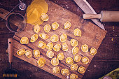 Preparing Homemade Tortellini in Domestic Kitchen
