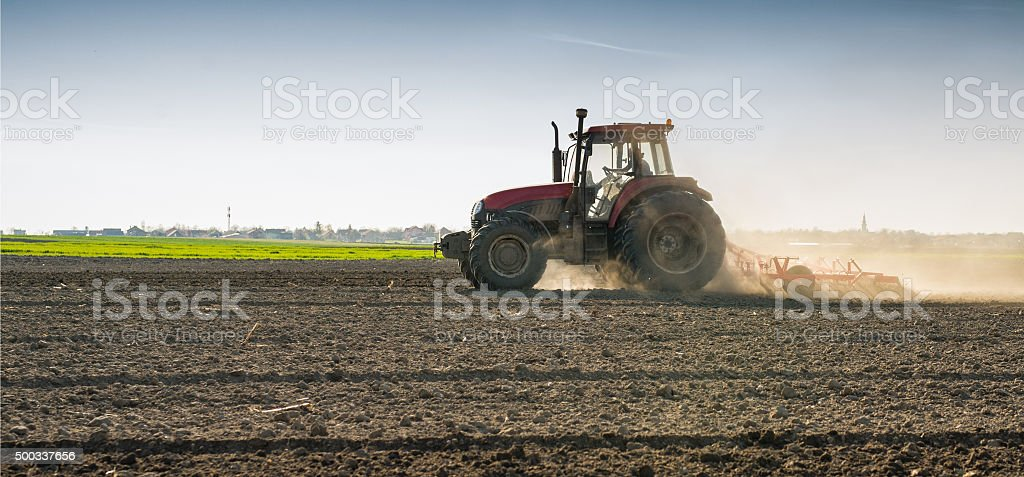 preparing land for sowing stock photo