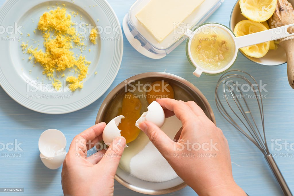 Preparing lemon curd stock photo