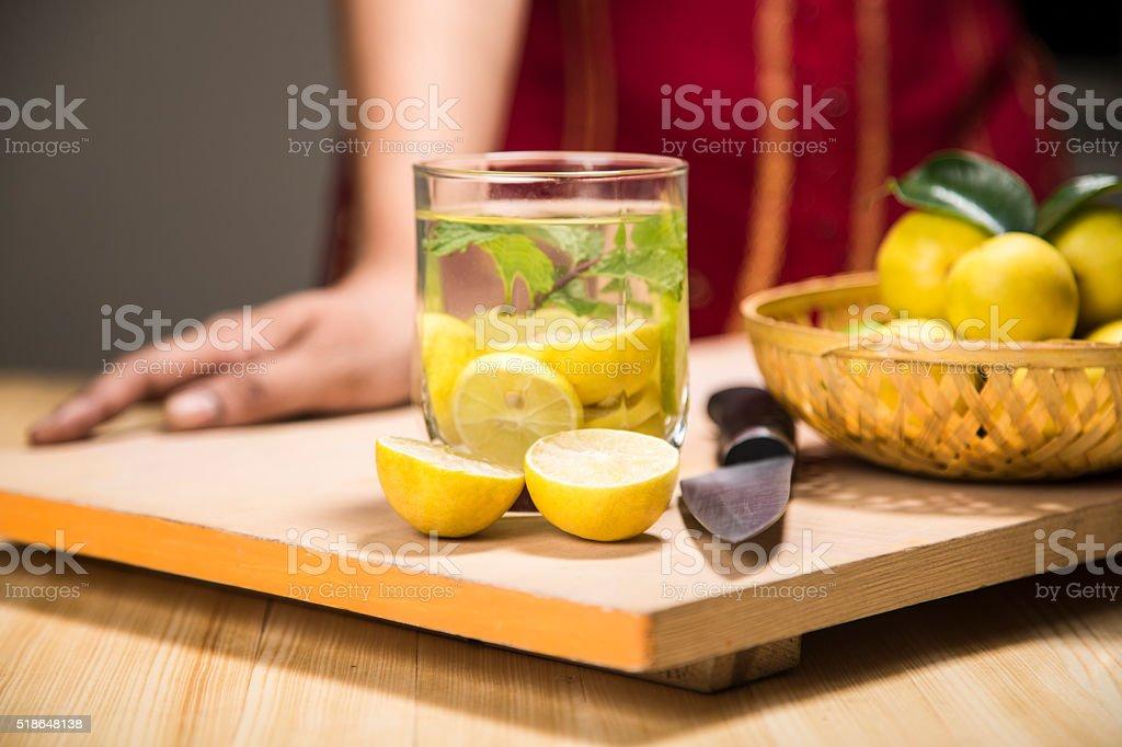 Preparing lemonade stock photo