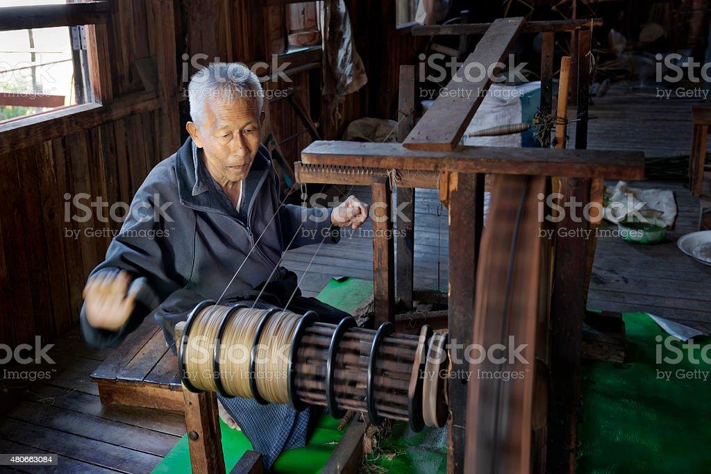 Preparing Lotus Fibre stock photo