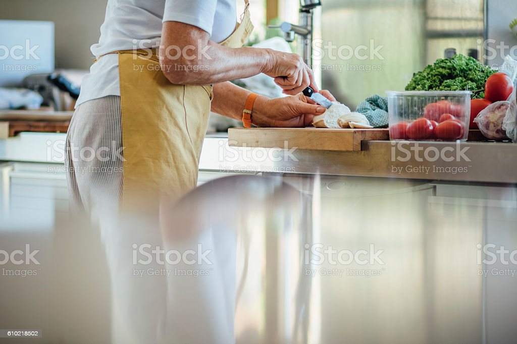 Preparing Lunch at Home stock photo