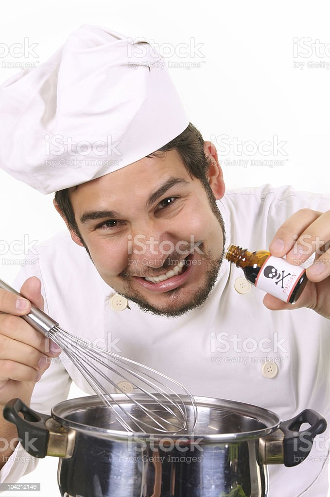 preparing lunch with poison bottle royalty-free stock photo