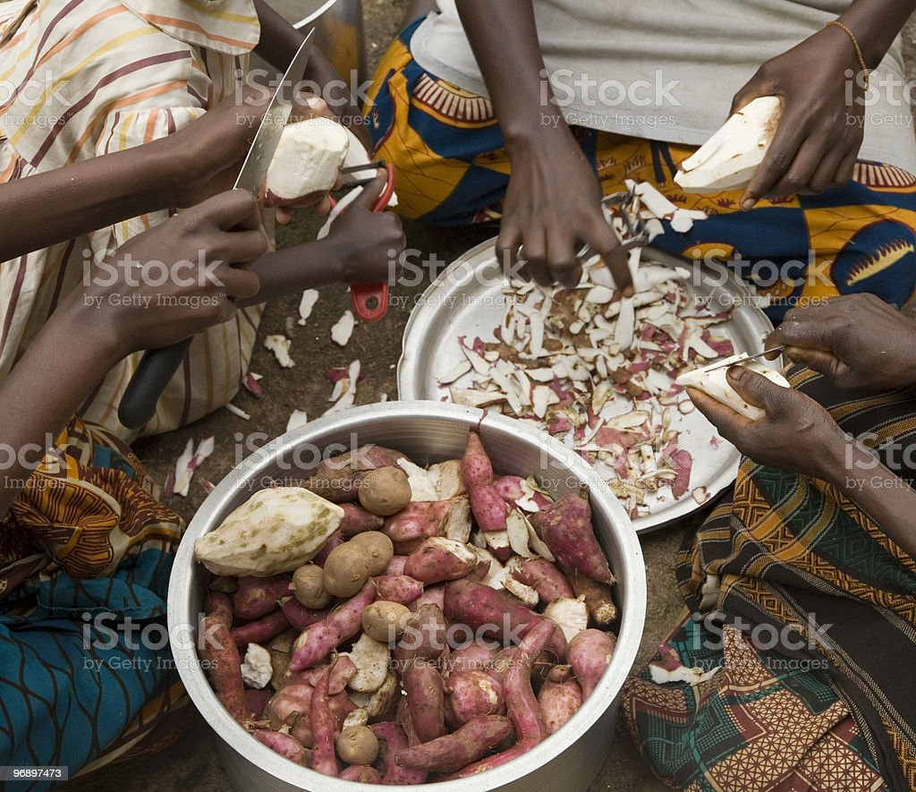 preparing lunch with sweet potatoes royalty-free stock photo