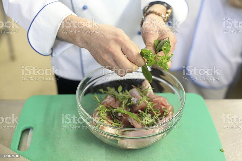 Preparing meat royalty-free stock photo