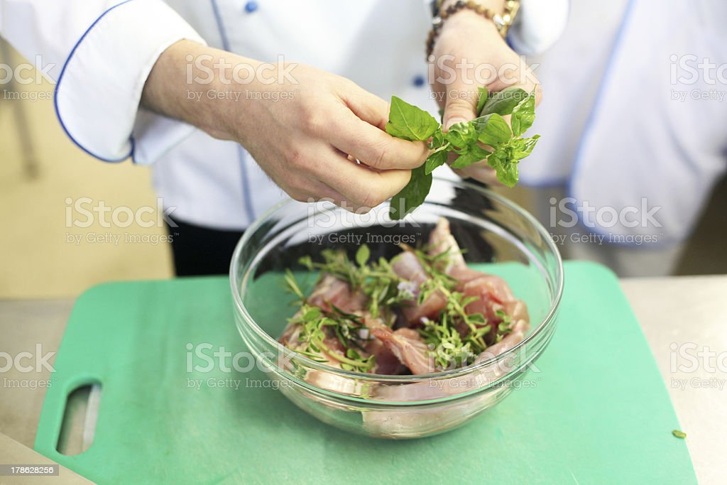 Preparing meat royalty-free stock photo