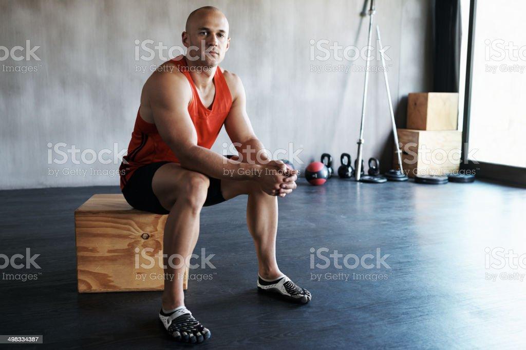 Preparing mentally for a tough workout royalty-free stock photo